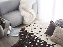 Area Rug Brown with Beige Leather 140 x 200 cm