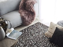 Area Rug Brown with Silver Leather 140 x 200 cm