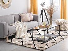 Area Rug Carpet Beige and Black Fabric Shaggy