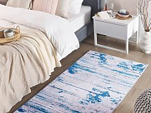 Area Rug Carpet Beige and Blue Polyester Fabric