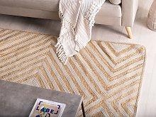 Area Rug Carpet Beige Cotton Jute Geometric