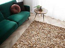 Area Rug Carpet Beige Genuine Leather Shaggy Hand Woven Square 200 x 200 cm Modern Design
