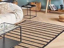 Area Rug Carpet Black and Beige Cotton Jute