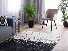 Area Rug Carpet Black and Beige Cowhide Leather