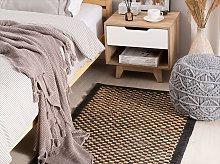 Area Rug Carpet Black and Beige Leather Jute