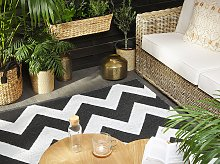Area Rug Carpet Black and White Polyester Fabric