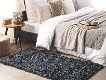 Area Rug Carpet Black Genuine Leather Shaggy Hand