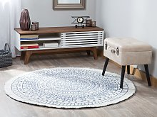 Area Rug Carpet Blue and Beige Reversible