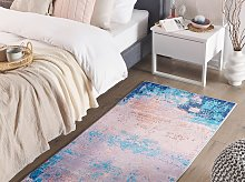 Area Rug Carpet Blue Polyester Fabric Abstract