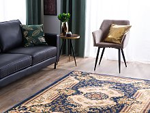 Area Rug Carpet Blue White Polyester Fabric Floral
