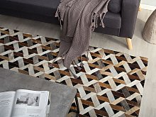 Area Rug Carpet Brown and Grey Leather Geometric