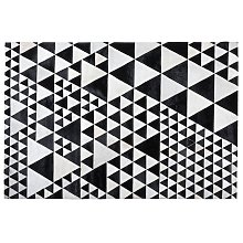 Area Rug Carpet Genuine Leather Cowhide Hair Geometric Patchwork Black White Small Odemis
