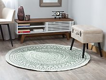 Area Rug Carpet Green and Beige Reversible