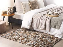 Area Rug Carpet Light Beige Genuine Leather Shaggy