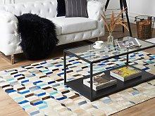 Area Rug Carpet Multicolour Cowhide Leather