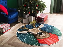 Area Rug Carpet Multicolour Polyester Reindeer