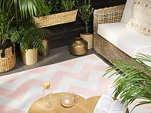 Area Rug Carpet Pink and White Polyester Fabric