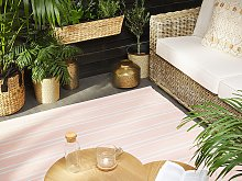 Area Rug Carpet Pink Reversible Synthetic Material