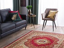 Area Rug Carpet Red Multicolour Polyester Fabric