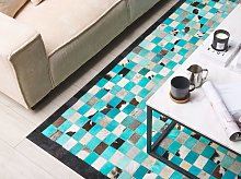 Area Rug Carpet Turquoise and Grey Leather