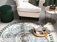 Area Rug Cream Cotton Round Oriental Living Room