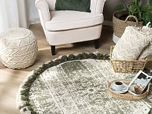 Area Rug Cream Cotton Round Vintage Living Room ø