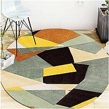 Area rug CXIA Yellow Beige Gray Black Round Carpet