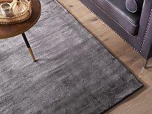 Area Rug Dark Grey Viscose 140 x 200 cm Tufted Low
