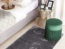 Area Rug Dark Grey Viscose 80 x 150 cm Tufted Low