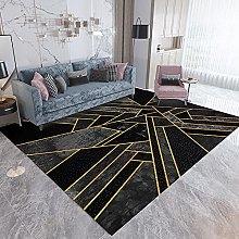 Area Rug,Gray Geometric Golden Lines 160x230cm