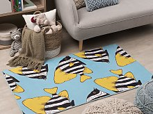 Area Rug Green and Yellow Printed Fish 80 x 150 cm