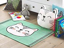 Area Rug Green Cat Print Cotton Fabric 60 x 90 cm