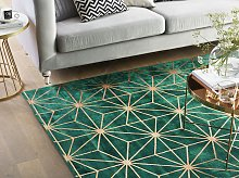 Area Rug Green with Gold Geometric Pattern Viscose