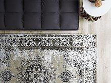 Area Rug Grey 140 x 200 cm Oriental Distressed