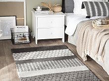 Area Rug Grey 80 x 150 cm Wool Living Room Home