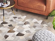 Area Rug Grey and Beige Cowhide Leather Patchwork