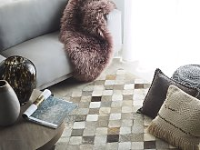 Area Rug Grey and Brown Cowhide Leather 140 x 200