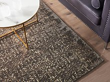 Area Rug Grey and Gold Viscose 140 x 200 cm Living