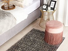 Area Rug Grey and Gold Viscose 80 x 150 cm Living