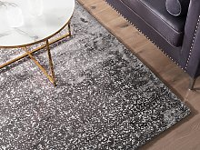 Area Rug Grey and Silver Viscose 140 x 200 cm