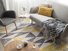 Area Rug Grey and Yellow Printed Geometric Pattern