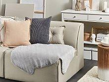 Area Rug Grey Faux Rabbit Fur Polyester 60 x 90 cm