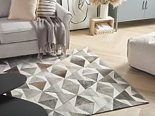 Area Rug Grey Leather 140 x 200 cm Patchwork
