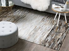 Area Rug Grey with Beige Leather 140 x 200 cm