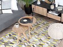 Area Rug Grey with Yellow Leather 160 x 230 cm