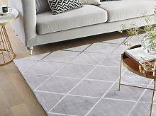 Area Rug Light Grey Silver Pattern 140 x 200 cm