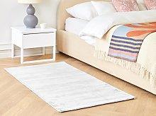 Area Rug Light Grey Viscose 80 x 150 cm Tufted Low