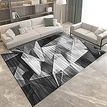 Area Rug - Modern Black And White Gray Rhombus