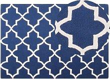 Area Rug Modern Blue Quatrefoil Pattern Wool Hand