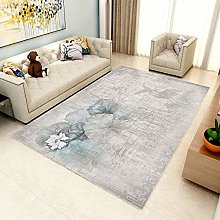 Area Rug,Modern Distressed Chinese Style Lotus
